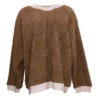 Cuddl Duds Women's Petite Sherpa Pullover Pajama Top Brown A381803