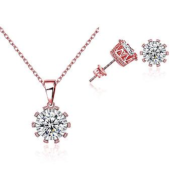 Kronhalsband och örhänge set insvept med kristaller från Swarovski - Rose