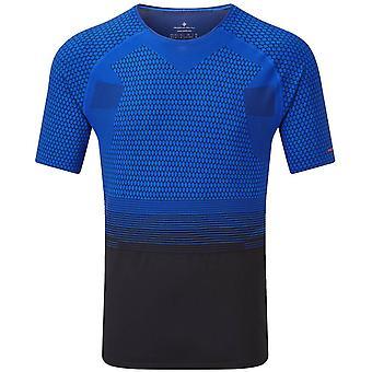 Ronhill Tech Marathon Short Sleeve T-Shirt - Noir/Azurite Bleu