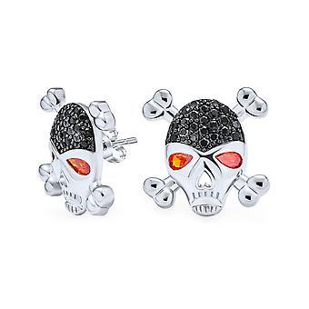 Noir Blanc CZ Oeil Rouge Caraïbes Pirate Crâne Croix Os Stud Boucles d'oreilles pour femmes pour hommes Laiton plaqué argent