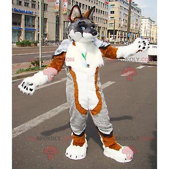 Maskottchen REDBROKOLY.COM sehr haarigen braunen Hund grau und weiß