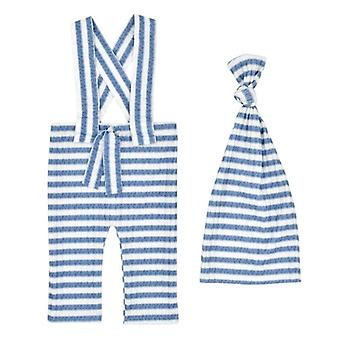 2 Pcs Baby Stripe Romper Long Tail Knotted Hat Set