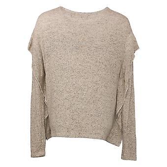 G van Giuliana Women's Top Cozy Ruffled Long Sleeves Brown 629181