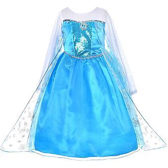 Girls Frozen Elsa Party Fancy Dress Costume Cosplay 3-9 Ans (Enfants) Bleu