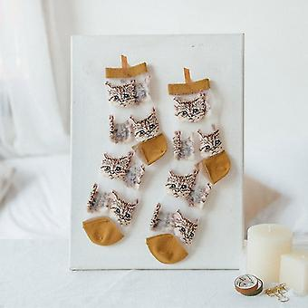 Womens novelty harajuku crystal silk tide socks for summer with patterns(Brown Cats)