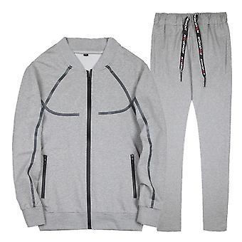 Seeunique Mænds Athletic Sports Casual Line Lynlås Sports Suit (top + Bukser)