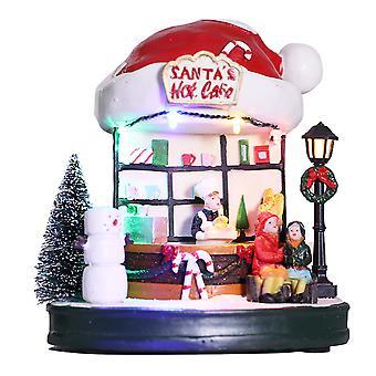 Swotgdoby Santa's Coffee Shop Ornamnet, met warm wit led licht en muziek