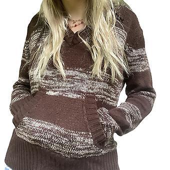 T-shirt V-ringad pulloverfickor för kvinnor Varm Lång ärm
