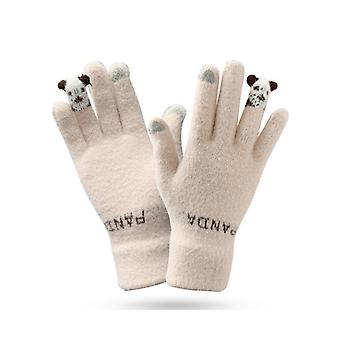 Guantes de punto de invierno Guantes de abrigo lindos y femeninos Guantes de lana para los dedos