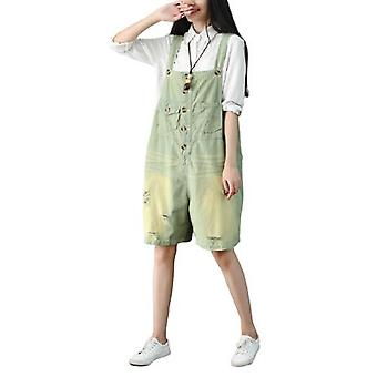 Woman Wide Leg Overalls Ripped Demin Sort Pants