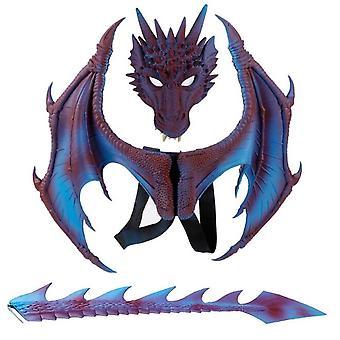 Halloween Drachen Ritter Kinderkleid Up Spielzeug Drachen Flügel Schwanz Maske 3-teiliges Set