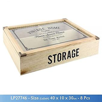 VINTAGE HOME KITCHEN 4 COMPARTMENT WOODEN STORAGE DISPLAY BOX GLASS LID