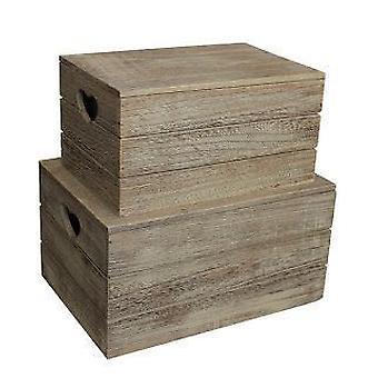 Ensemble de 2 effet chêne coeur coupe poignée en bois couverte à boîte de rangement
