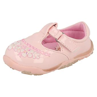 Girls Cutie T-Bar Flats With Floral Embroidery Detail