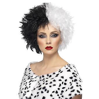 Evil Madam wig svart-hvitt kort krøllete