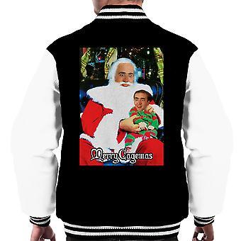 Gledelig Cagemas Santa kneet Nicolas Cage Christmas menn Varsity jakke