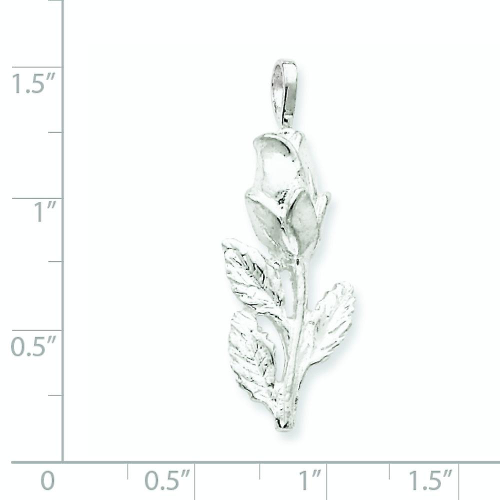 925 Sterling Silver Solid Polished Open back Textured back Rose Bud Pendant Necklace Jewelry Gifts for Women