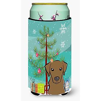 Christmas Tree and Chocolate Labrador Tall Boy Beverage Insulator Hugger
