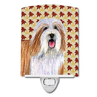 Bearded Collie Fall Leaves Portrait Ceramic Night Light