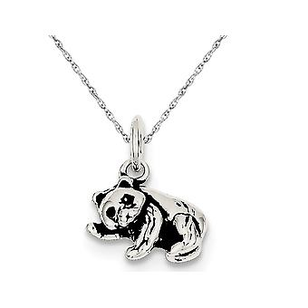 Small Antiqued Panda Bear Charm Pendant Necklace in Sterling Silver