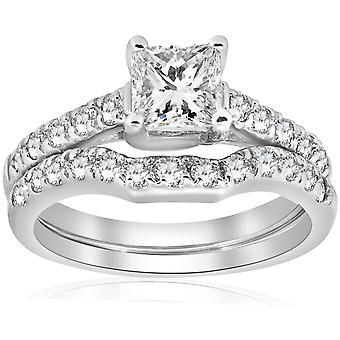1 1/2ct Enhanced Princess Cut Diamond Engagement Ring Matching Wedding Band Set