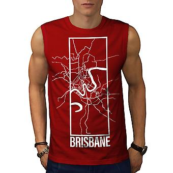 Brisbane City Map Fashion Men RedSleeveless T-shirt | Wellcoda