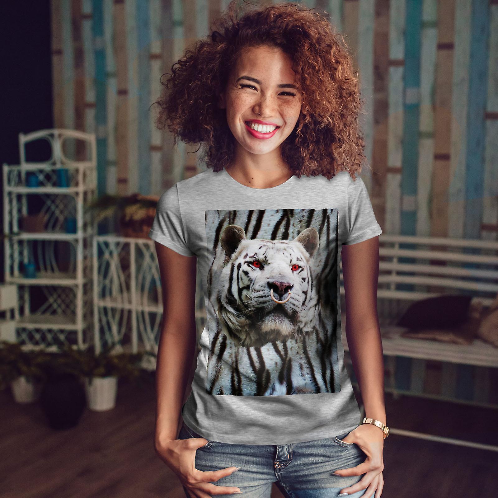 Tigre visage yeux rouges GreyT-chemise femme | Wellcoda