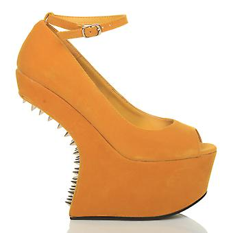 Ajvani womens wedge chaussure haute plate-forme mary jane poney escarpins