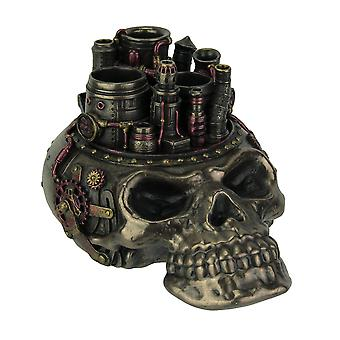 Bronze Finish Steampunk Style Human Skull Chimney Desktop Pen Holder