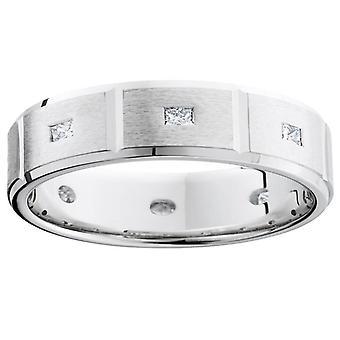 Mens Princess Cut Diamond White Gold bröllop Ring Band