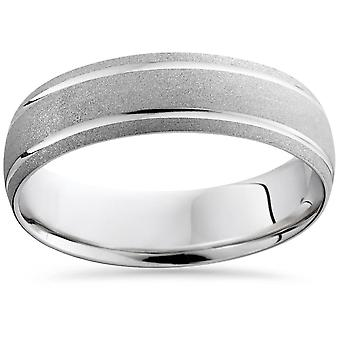 Herren 6MM 14K White Gold gebürstet Komfort Ehering Ring