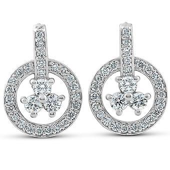 1 قيراط الماس دائرة ثلاثة إسقاط الحجر استرخى أقراط 14 ك الذهب الأبيض
