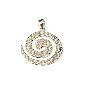Sterling sølv Rhodium belagte runde Spiral vedhæng
