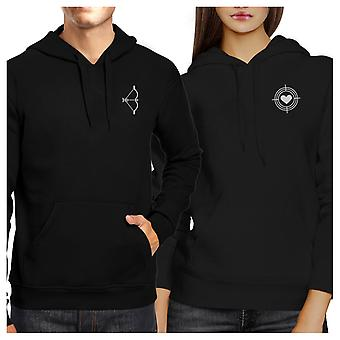 Bow And Arrow Black Pullover Fleece Hoodies Matching Couples Shirts