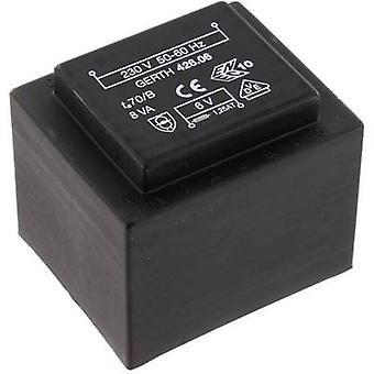 PCB mount transformator 1 x 230 V 1 x 9 V AC 8 VA 888 mA PTF420901 Gerth
