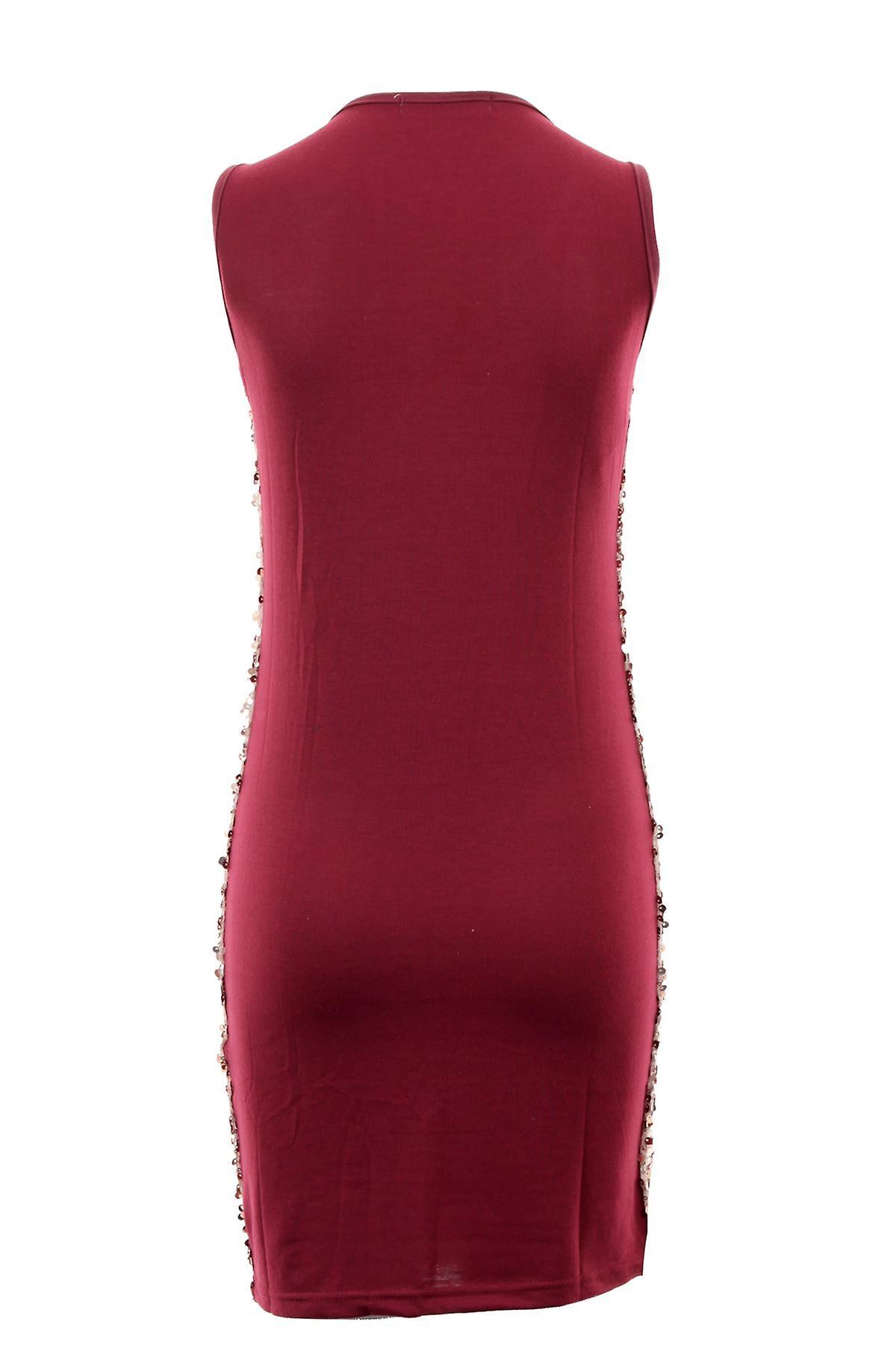 Ladies Round Sequin Shiny Wine Black Beige Plain Back Short Women/'s Party Dress