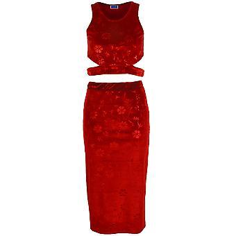 Ladies Floral Velvet Women's Cut Out Side Crop Top Pencil Stretch Skirt Suit Set