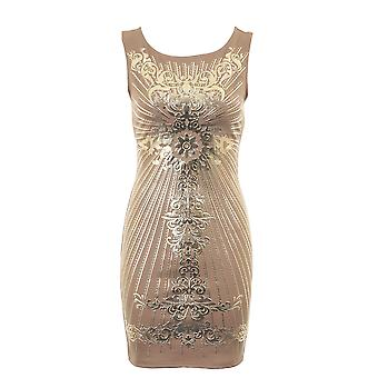 Ladies gull folie trykk krysser tilbake svart elfenben vin kvinners Bodycon kjole