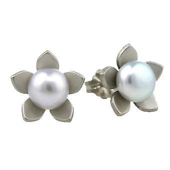 TI2 titanio grande fiore e orecchini di perle - crema naturale