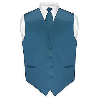 "Men's Dress Vest & Skinny NeckTie Solid Color 2.5"" Neck Tie Set for Suit or Tuxedo"