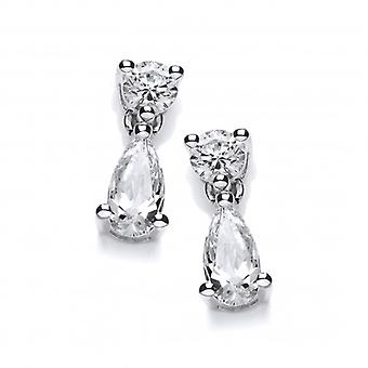 Cavendish French Cubic Zirconia Teardrop and Solitaire Earrings