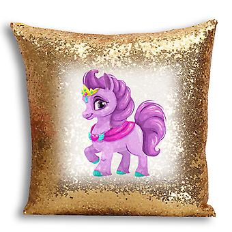 i-Tronixs - Unicorn Printed Design Gold Sequin Cushion / Pillow Cover with Inserted Pillow for Home Decor - 18