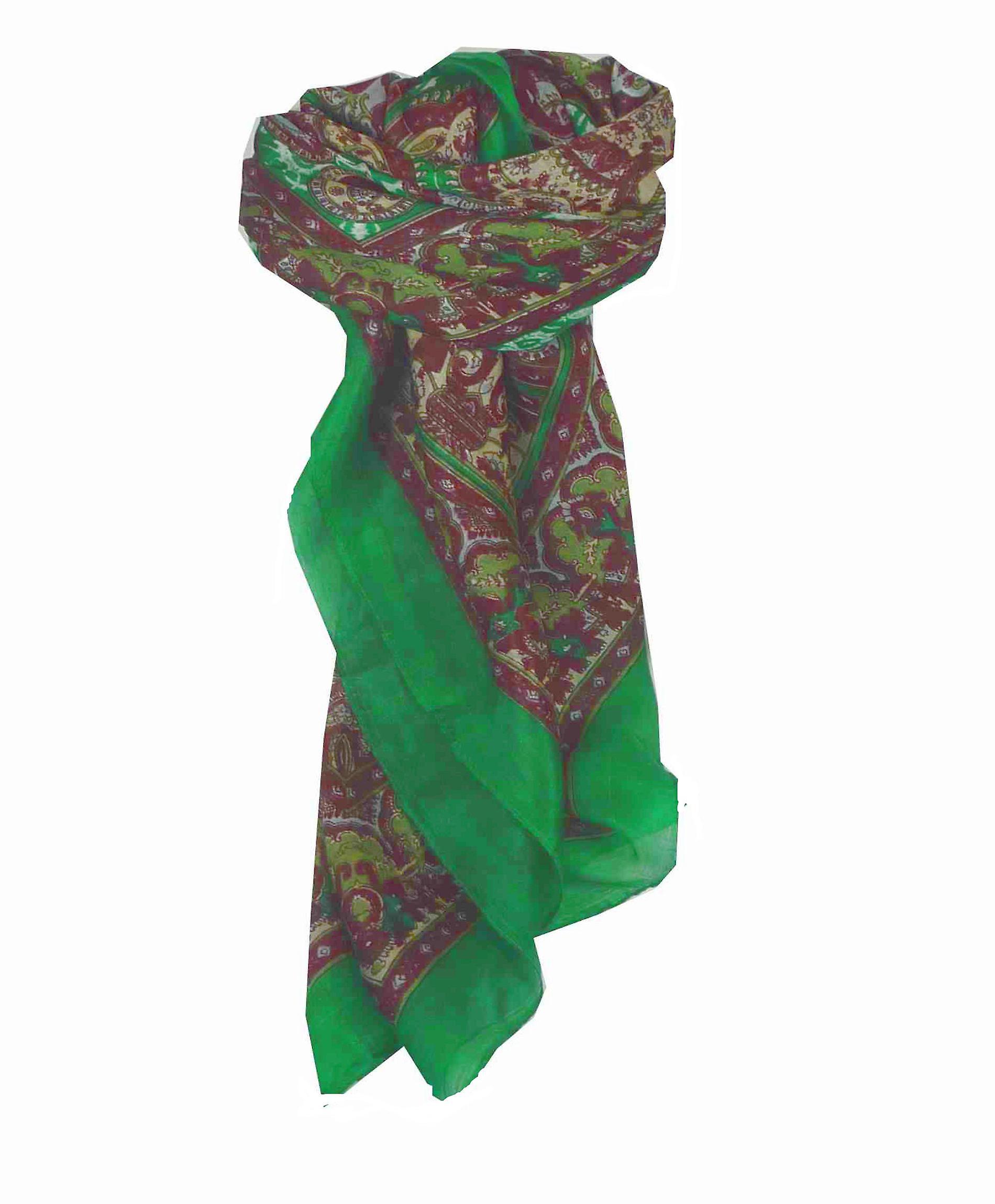 Mulberry Silk Traditional Square Scarf Ravali Emerald & Wine by Pashmina & Silk