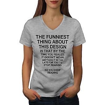Funy Long Text Women GreyV-Neck T-shirt   Wellcoda