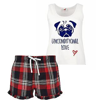 Pug amore incondizionato Ladies Tartan volant corto pigiama Set rosso blu o verde blu