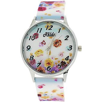 Relda Ladies Analogue Summer Flowers Silicone Colourful Strap Watch REL100