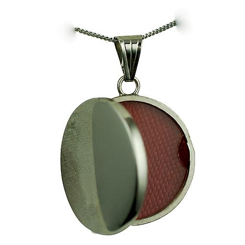 9ct White Gold 23mm round flat plain Locket with a curb Chain 20 inches