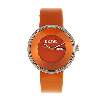 Crayo Button Leather-Band Unisex Watch w/ Day/Date - Orange