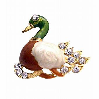Duckling Gold Plated Colorful Brooch Decorated with Cubic Zircon