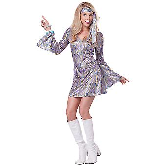 Disco Sensation 1970s 60s Hippie Dancing Queen Groovy Retro Womens Costume